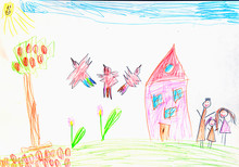 The World Through The Eyes Of A Child. Child's Drawing Of A Family. Happy Childhood Concept.