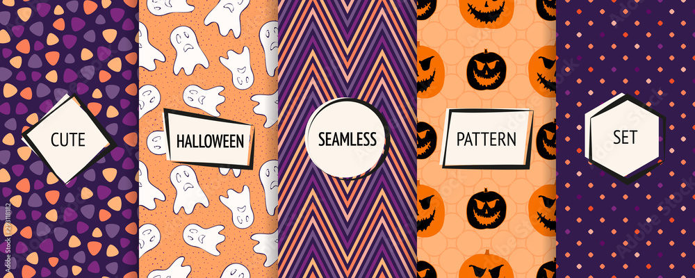Fototapety, obrazy: Halloween seamless patterns collection. Vector set of funny background swatches