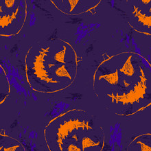 Vector Seamless Halloween Pattern. Abstract Background With Scary Pumpkins
