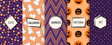 Halloween Seamless Patterns Collection. Vector Set Of Colorful Background Swatches With Modern Minimal Labels. Cute Abstract Textures For Kids. Design With Pumpkins, Ghosts, Candies, Dots, Chevron