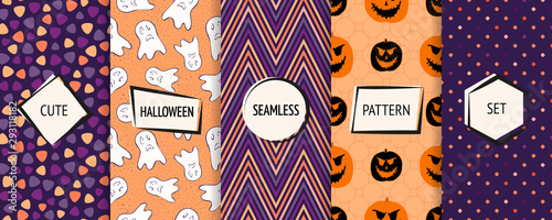 fototapeta na ścianę Halloween seamless patterns collection. Vector set of funny background swatches