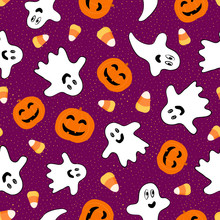 Halloween Pattern. Vector Seamless Background Texture With Cute Smiling Orange Pumpkins, Spooky Ghosts, Candy Corn. Funny Repeatable Design For Kids, Boys And Girls, Decoration. Simple Cartoon Graphic
