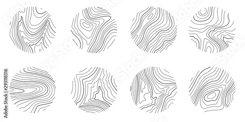 Set rings of topographic line map, circular geographic grid map - 293118316