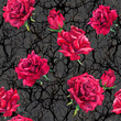 canvas print picture - Rose flowers, branches. Seamless gothic pattern at dark background. Watercolor