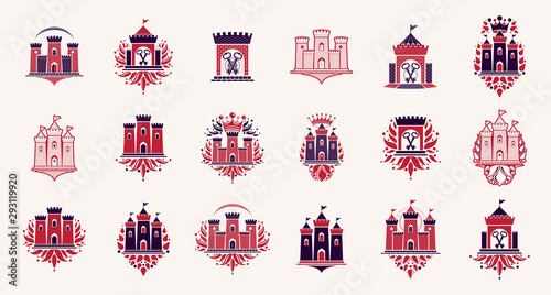 Canvas Print Fortresses emblems vector emblems big set, castles heraldic design elements collection, classic style heraldry architecture symbols, antique forts and citadels