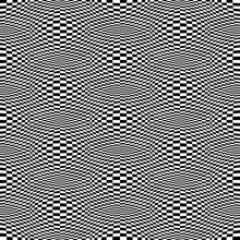 Optical Illusion Checkered Vector Abstract Seamless Background, Black And White Pattern, Chess Board Tiles With Psychedelic Spherical Volume, Geometric Checker Op Art.