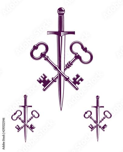 Foto Crossed keys and dagger vector symbol emblem, turnkeys and sword, protected secrets, secured power, ancient vintage logo or emblem