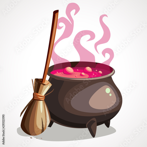 Cartoon witch cauldron and broom for halloween. Wallpaper Mural