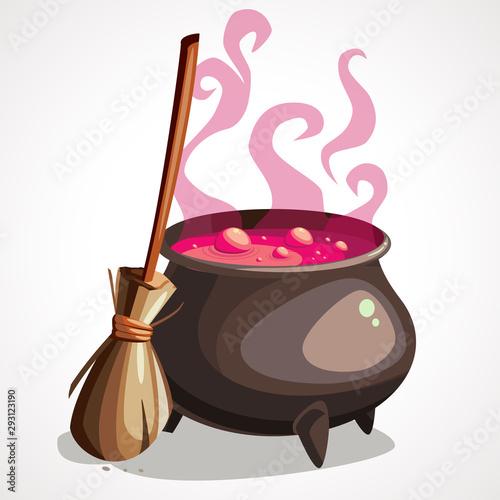 Photo Cartoon witch cauldron and broom for halloween.