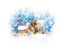 Winter Landscape. Watercolor H...