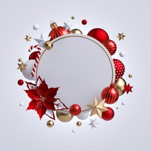 3d Christmas Round Wreath With...
