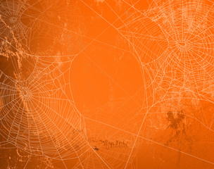 shabby orange wall covered with spooky spider web - halloween theme bright copy space background