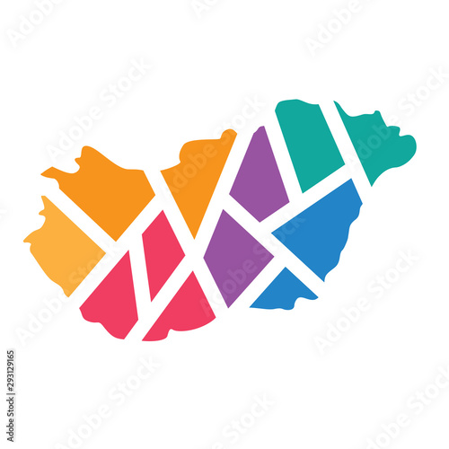 Photo colorful geometric Hungary map- vector illustration