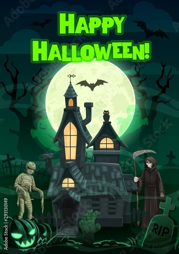 Halloween ghosts and monsters with haunted house