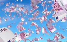 Flying Euro Banknotes Against ...