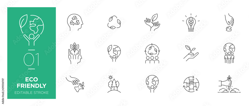 Fototapeta Set of Eco friendly line icons - Modern icons