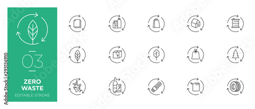 Set of Zero waste line icons - Modern icons Wallpaper Mural