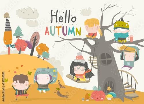 Happy children playing in autumn park. Hello autumn