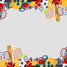 Sports Equipment Flat Vector Illustration Fitness Themed Frame