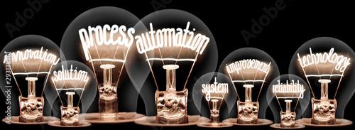 Cuadros en Lienzo  Light bulbs with Process Automation concept