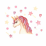 Watercolor hand drawn  unicorn card illustration with heart baloons, crown and  hearts , fairy tale animal creature, magical  clip art, isolated on white background. Birthday card.