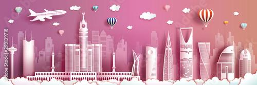 Wall Murals Candy pink Travel Saudi arabia with modern building, skyline, skyscraper.