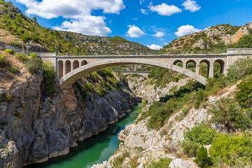 Pont du Diable (Devil's bridge), near St Guilhem du Desert, Herault, Languedoc Roussillon, old bridge on the herault river