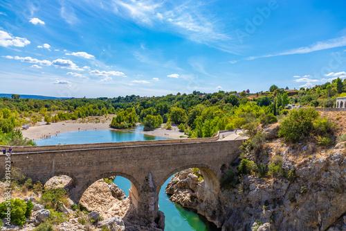Fototapeta Pont du Diable (Devil's bridge), near St Guilhem du Desert, Herault, Languedoc R