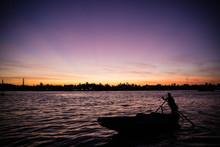 Fisherman At Vietnam Sunrise