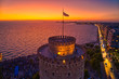Leinwanddruck Bild - Aerial view of famous White Tower of Thessaloniki at sunset, Greece.