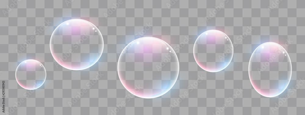 Fototapeta Realistic soap bubbles with rainbow reflection set isolated.