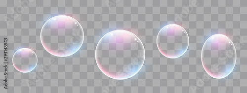 Photo Realistic soap bubbles with rainbow reflection set isolated.