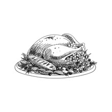 Roasted Turkey Hand Drawn Vect...