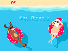 Christmas Holiday. Santa Claus And Deer Relaxing On Inflatable Donuts. Greeting Christmas Card 2020