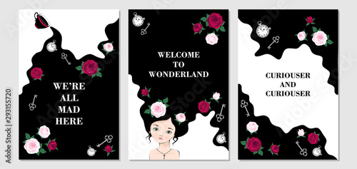 Wonderland set of card Canvas Print
