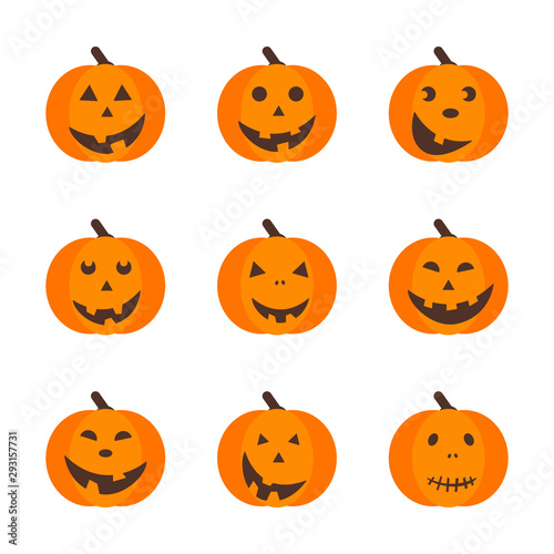 Spoed Fotobehang Halloween Set of isolated halloween pumpkins