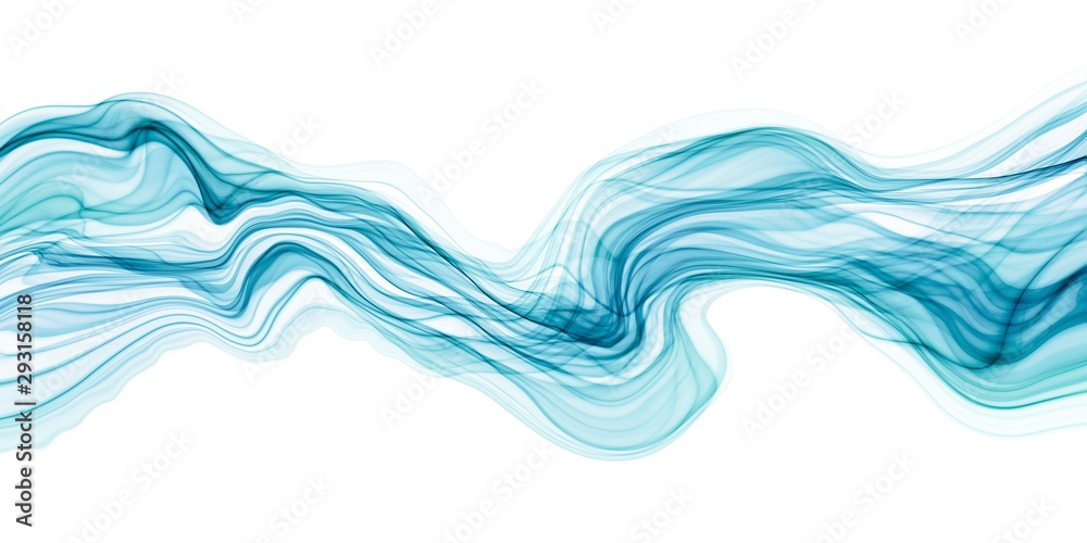 Fototapeta Abstract transparent brush stroke wave flowing in blue and green colors isolated on white backgrounds