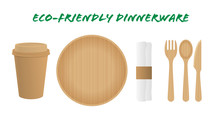 Sustainable Home Goods And Eco-Friendly Dinnerware. Bamboo Spoons, Fork, Knives, Plate With Paper Cup Isolated On A White Background. Recycling.
