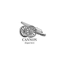 Cannon Old Military Antique Logo Illustration Vector Artillery
