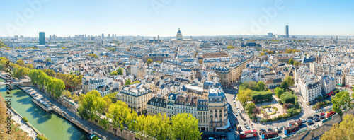 Garden Poster Paris Panorama of city of Paris with cityscape and Paris city view