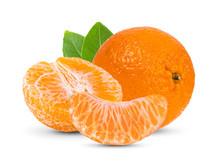 Mandarin, Tangerine Citrus Fruit With Leaf Isolated On White Background