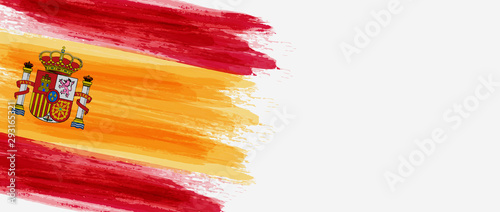 Fotografiet  Abstract grunge brushed flag of Spain