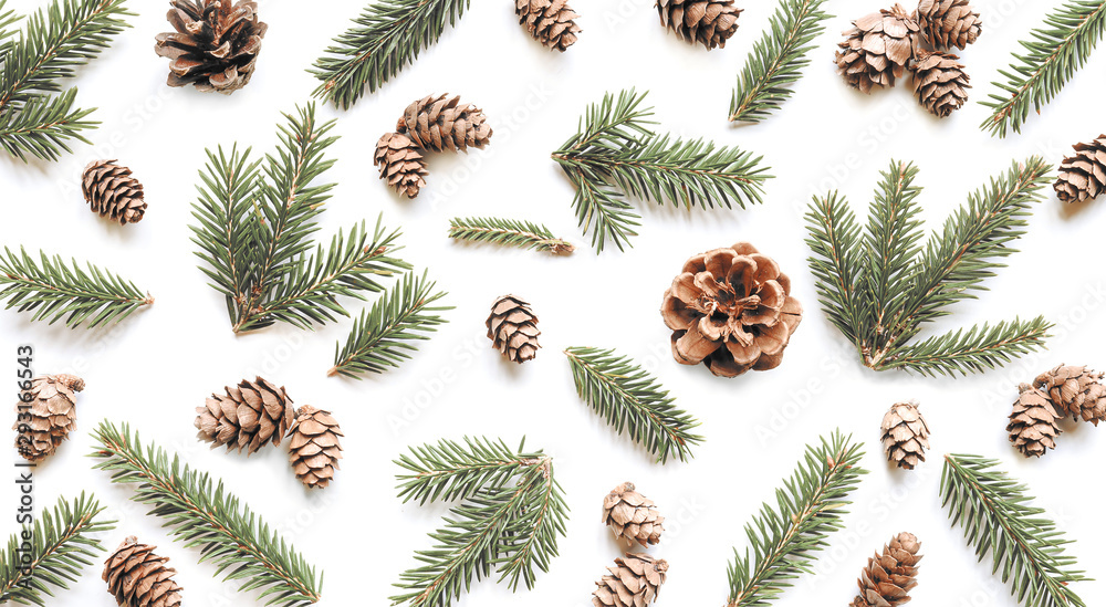 Fototapety, obrazy: Fir branches and cones on white background. Christmas pattern.