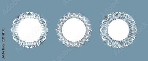 Vászonkép  Lasercut lace doily design Round pattern ornament Template mockup of a round whi
