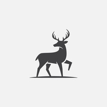 Deer Icon, Deer Illustration, Deer Vector Design Template, Rain Deer Logo