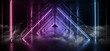Smoke Sci Fi Triangle Purple Blue Neon Laser Tunnel Beam Construction Stage Concrete Grunge Dark Empty Podium Virtual Futuristic Future Night Show 3D Rendering