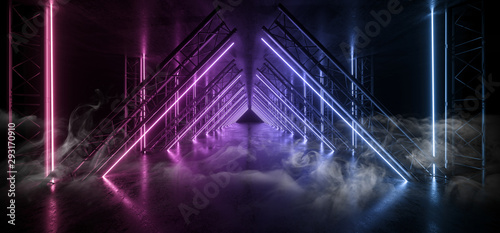 Cuadros en Lienzo  Smoke Sci Fi Triangle Purple Blue Neon Laser Tunnel Beam Construction Stage Conc