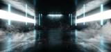 Fototapeta Perspektywa 3d - Smoke Neon Glowing Laser Blue Pylons Arch White Concrete Underground Garage Sci Fi Futuristic Hall Stage Podium Grunge Columns Dark Spaceship Tunnel Corridor 3D Rendering