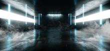 Smoke Neon Glowing Laser Blue Pylons Arch White Concrete Underground Garage Sci Fi Futuristic Hall Stage Podium Grunge Columns Dark Spaceship Tunnel Corridor 3D Rendering
