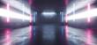 canvas print picture Neon Glowing Laser Blue Purple Lines Arch White Concrete Underground Garage Sci Fi Futuristic Hall Stage Podium Grunge Columns Dark Spaceship Tunnel Corridor 3D Rendering